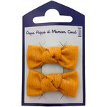 Small bows hair clips gaze dentelle ocre - PPMC
