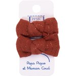 Small bows hair clips lurex terracotta gauze - PPMC