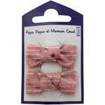 Small bows hair clips dusty pink lurex gauze - PPMC