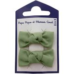 Small bows hair clips gauze sage green - PPMC