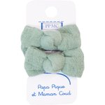Small bows hair clips sage green gauze - PPMC
