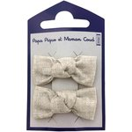 Small bows hair clips  glitter linen - PPMC