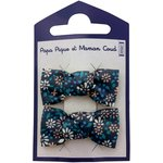 Small bows hair clips marine daisy - PPMC