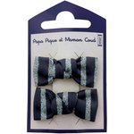 Small bows hair clips striped silver dark blue - PPMC