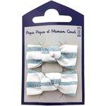 Barrettes clic-clac petits noeuds rayé bleu blanc - PPMC