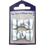 Small bows hair clips striped blue gray glitter - PPMC