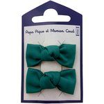 Small bows hair clips emerald green - PPMC