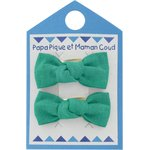 Small bows hair clips green laurel - PPMC