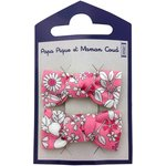 Small bows hair clips pink violette - PPMC