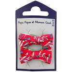 Small ribbons hair clips cherry cornflower - PPMC