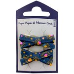 Small ribbons hair clips glittering heart - PPMC
