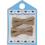 Small ribbons hair clips gold linen - PPMC