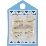 Small ribbons hair clips  glitter linen - PPMC