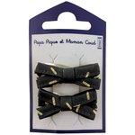 Barrette clic-clac mini ruban  paille dorée noir - PPMC