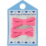 Barrette clic-clac mini ruban rose pailleté - PPMC