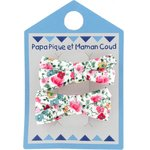 Barrette clic-clac mini ruban  roseraie - PPMC