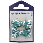 Small ribbons hair clips celadon violette - PPMC