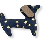 Basset hound hair clip navy gold star - PPMC