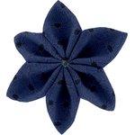 Barrette fleur étoile 4 broderie anglaise marine - PPMC