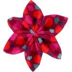 Barrette fleur étoile 4 pompons cerise - PPMC