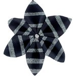 Barrette fleur étoile 4 rayé argent marine - PPMC