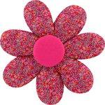 Barrette fleur marguerite crocus groseille - PPMC