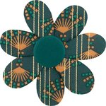 Fabrics flower hair clip eventail or vert - PPMC