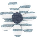 Fabrics flower hair clip striped blue gray glitter - PPMC