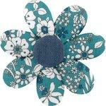 Pasador flor margarita  violeta celadon - PPMC