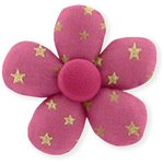 Mini flower hair slide fuchsia gold star - PPMC