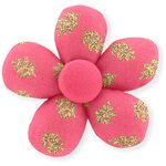 Petite barrette mini-fleur feuillage or rose - PPMC