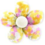 Petite barrette mini-fleur mimosa jaune rose - PPMC