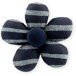 Petite barrette mini-fleur rayé argent marine - PPMC