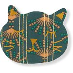 Barrette miaou eventail or vert - PPMC