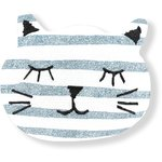 Meow hair slide striped blue gray glitter - PPMC