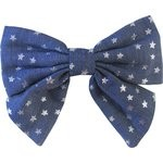Bow tie hair slide silver star jeans - PPMC