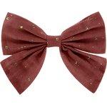 Bow tie hair slide gaze pois or rouille - PPMC