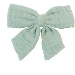 Bow tie hair slide sage green gauze - PPMC