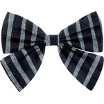 Bow tie hair slide striped silver dark blue - PPMC