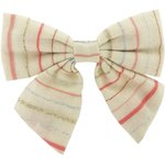 Bow tie hair slide silver pink striped - PPMC