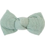 Small bow hair slide sage green gauze - PPMC