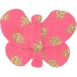 Barrette petit papillon feuillage or rose - PPMC