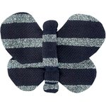 Butterfly hair clip striped silver dark blue - PPMC