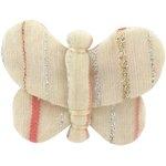 Barrette petit papillon rayé rose argent - PPMC