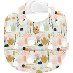 Coated fabric bib water green rabbit - PPMC
