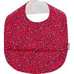 Coated fabric bib pompons cerise - PPMC