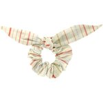 Bunny ear Scrunchie silver pink striped - PPMC