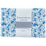 Coupon tissu 1 m fleuri bleu crème ex1058 - PPMC