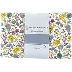 Coupon tissu 1 m fleuri jaune gris crème ex1059 - PPMC