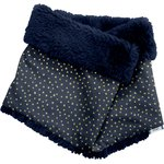 Children fur scarf snood navy gold star - PPMC